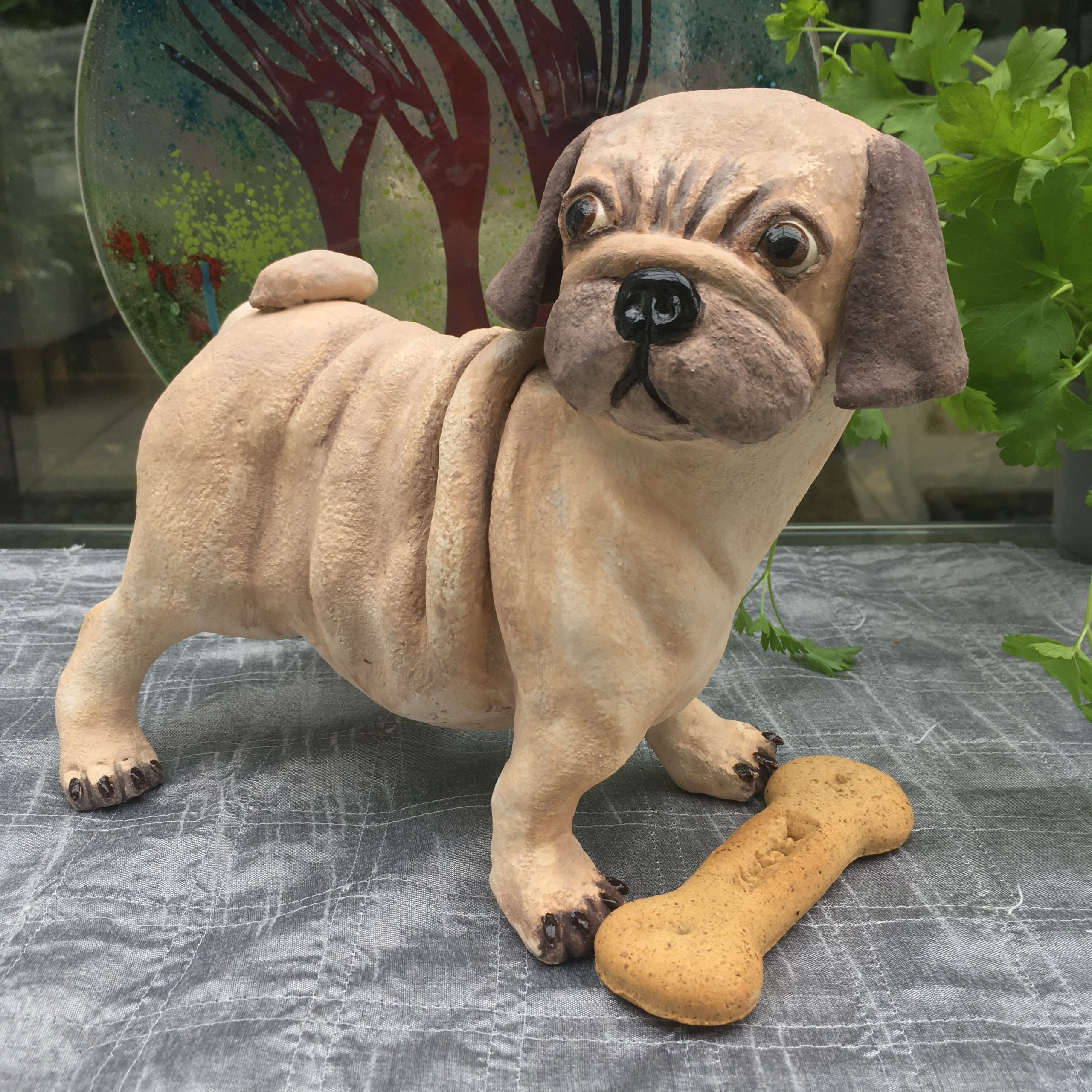 Pug Animal Sculpture 'Herbie'