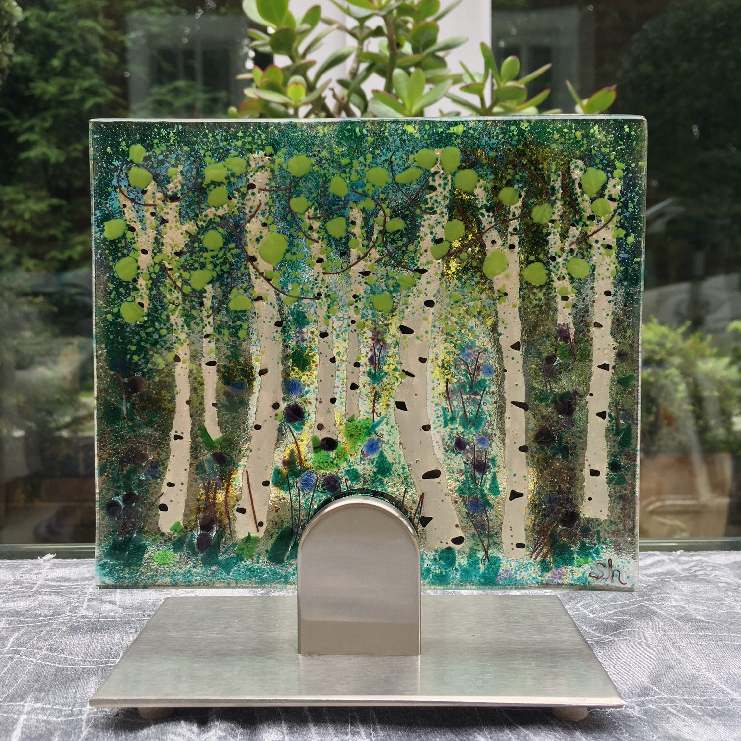 Silver Birch Trees Fused Glass