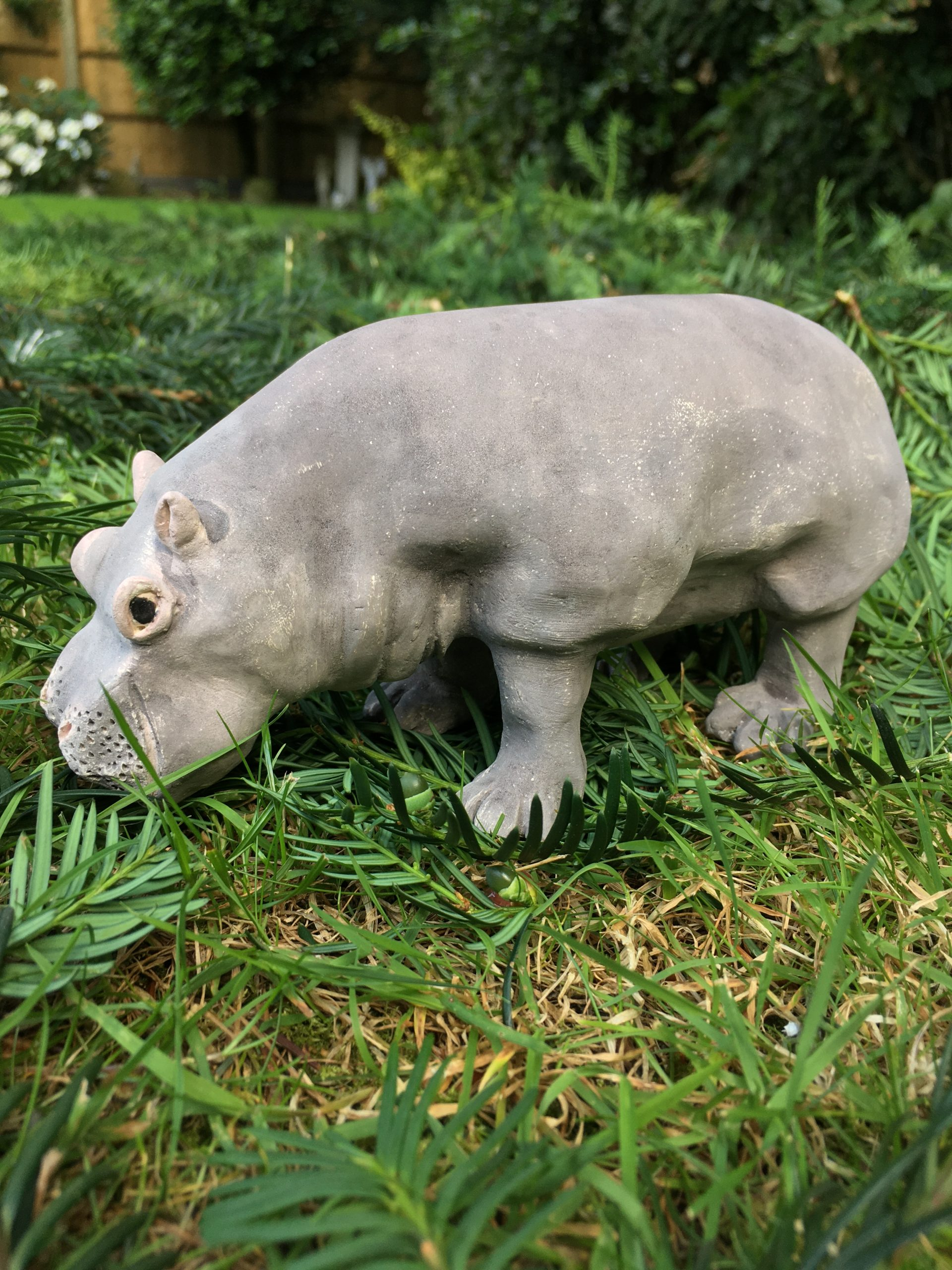 Ceramic Hippo Sculpture