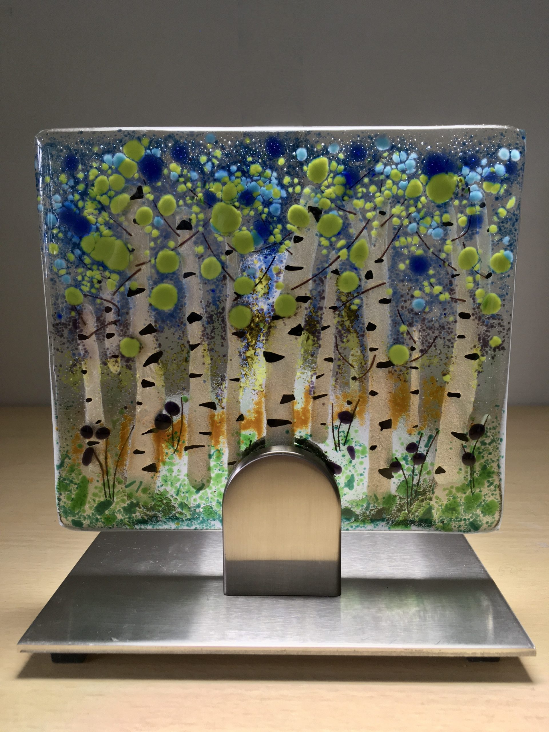 Silver Birch Trees II Fused Glass