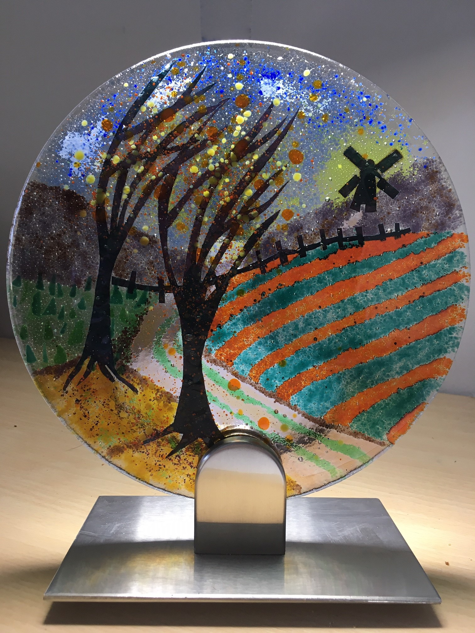 Autumn Trees and Windmill Fused Glass